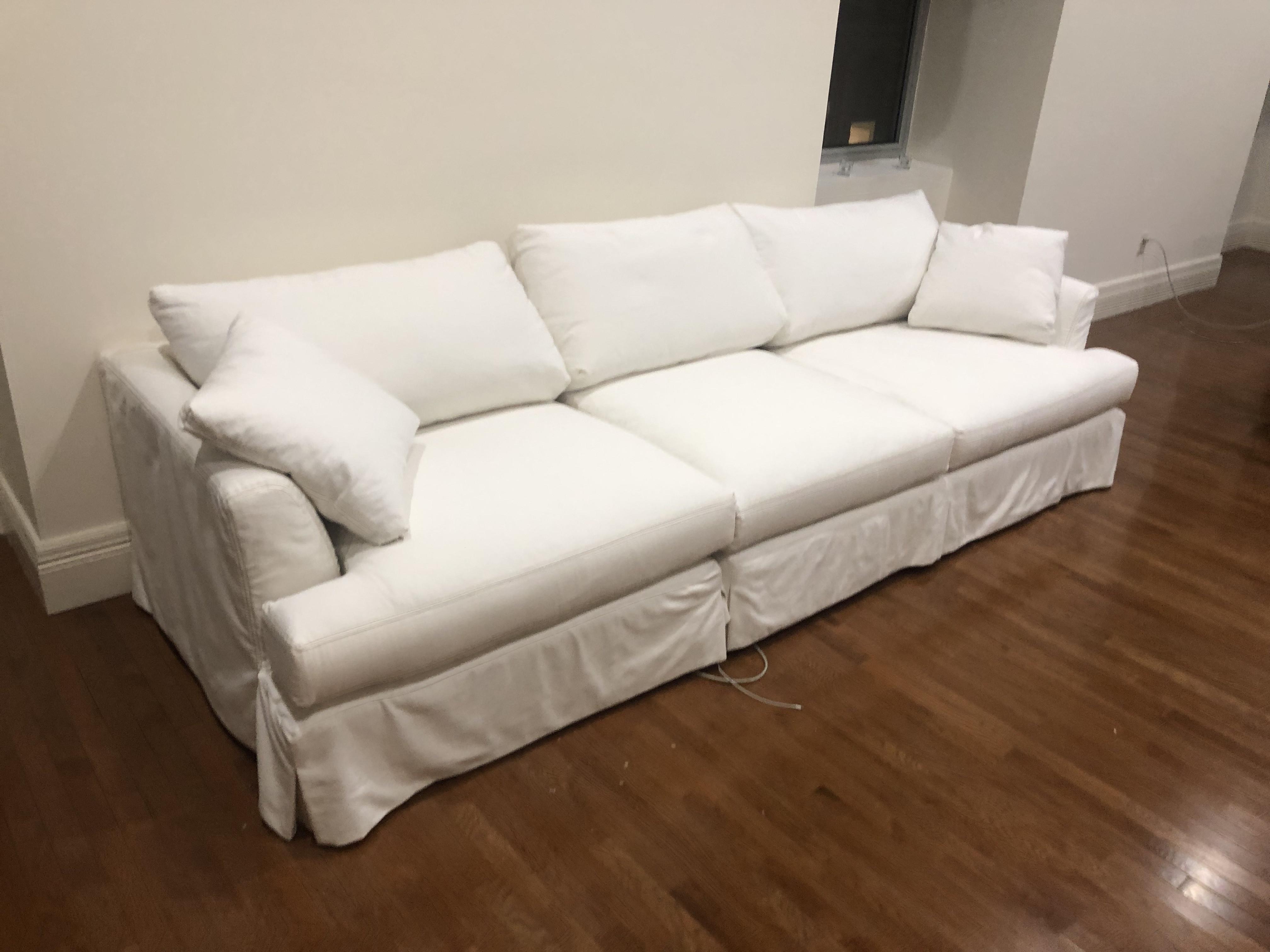 Arhaus White 3-Piece Sectional Sofa