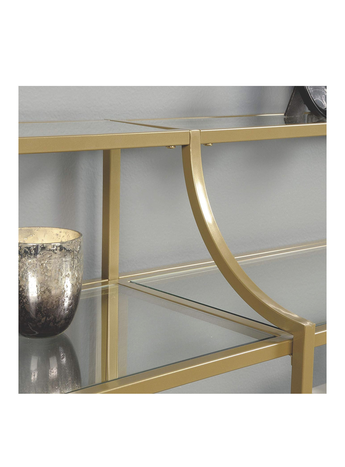 Sauder Console Table w/ Glass Shelves in Matte Gold Finish