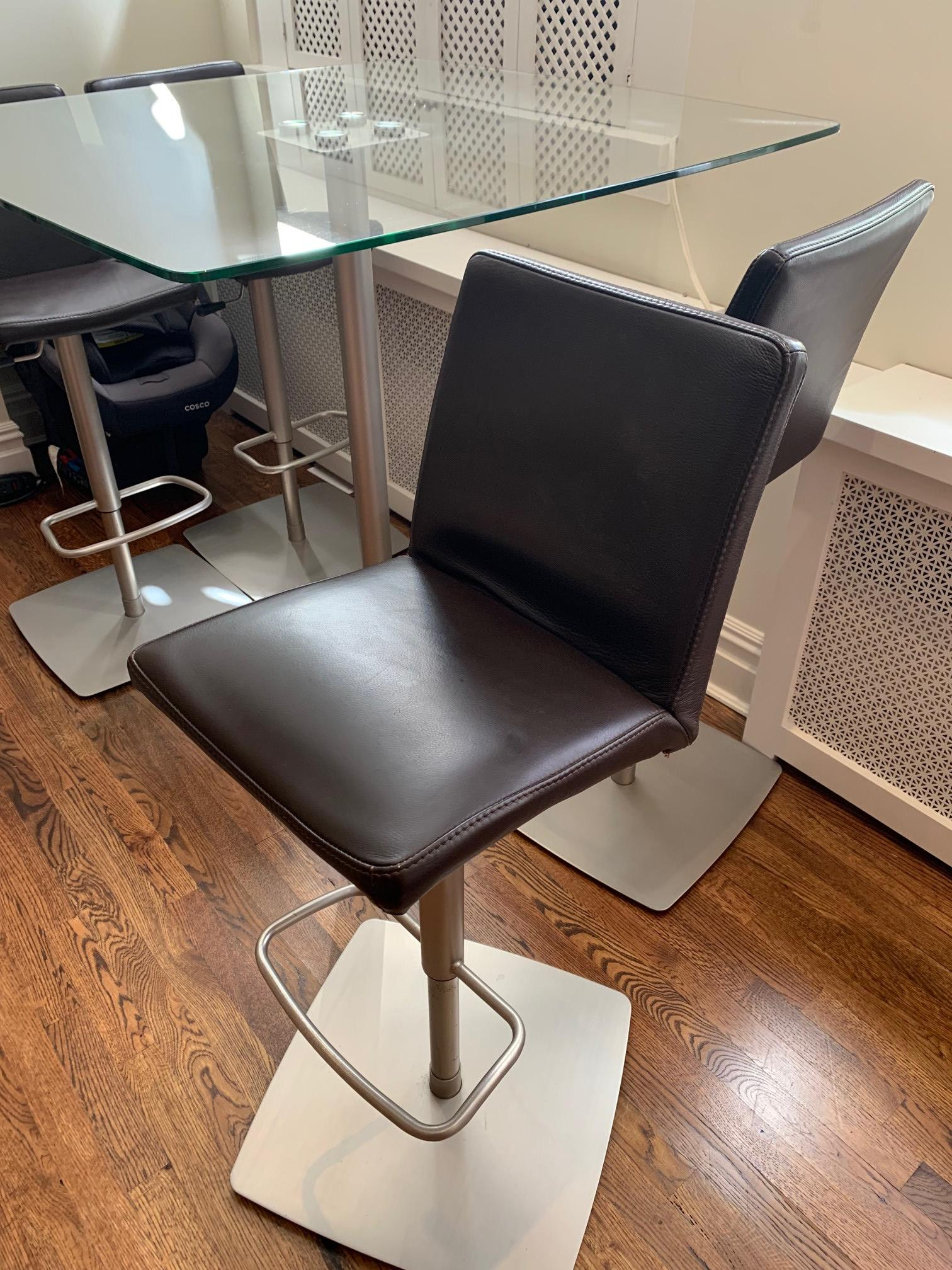 BoConcept Glass Bar Table w/ 4 Leather Bar Stools