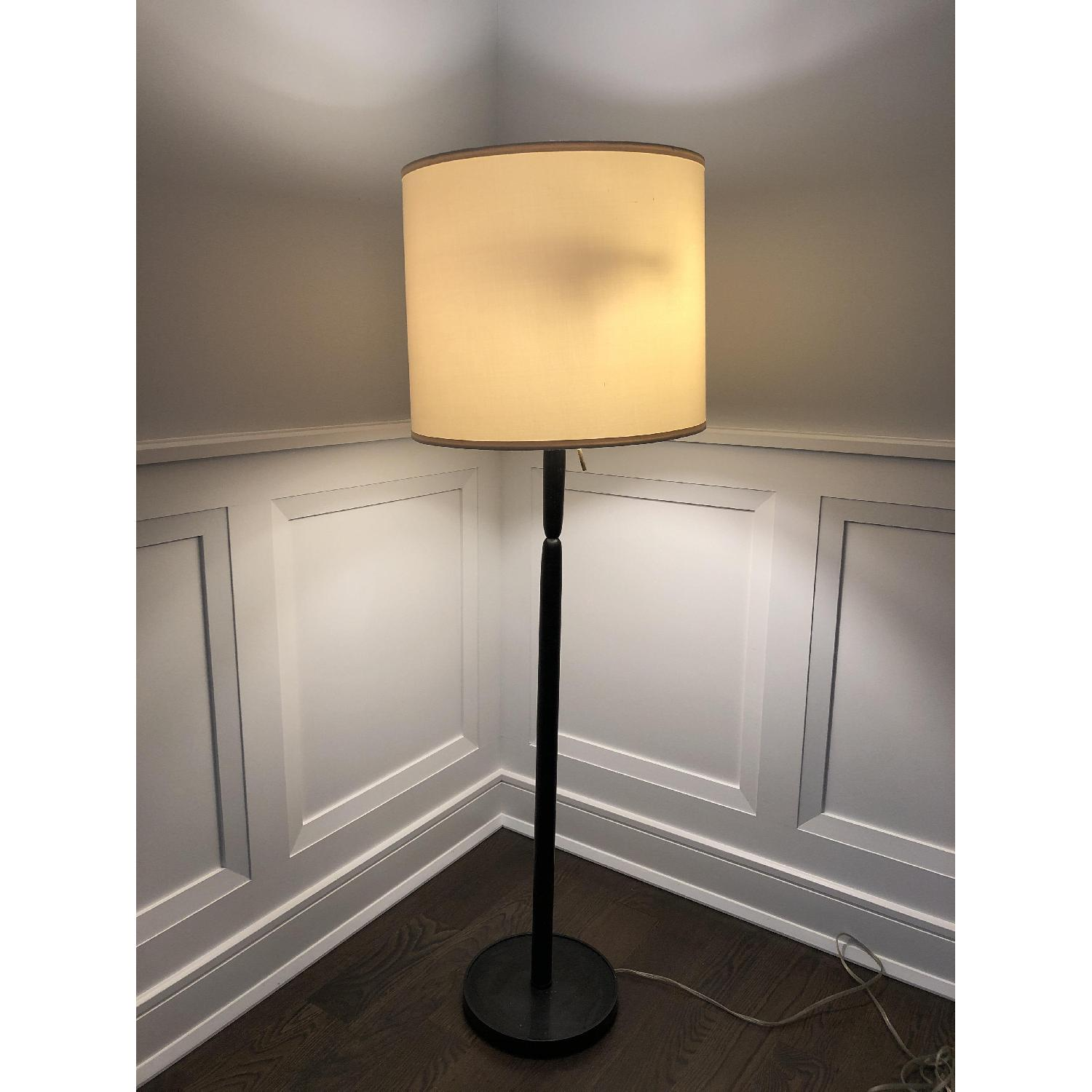 Black Floor Lamp w/ Off White Shade