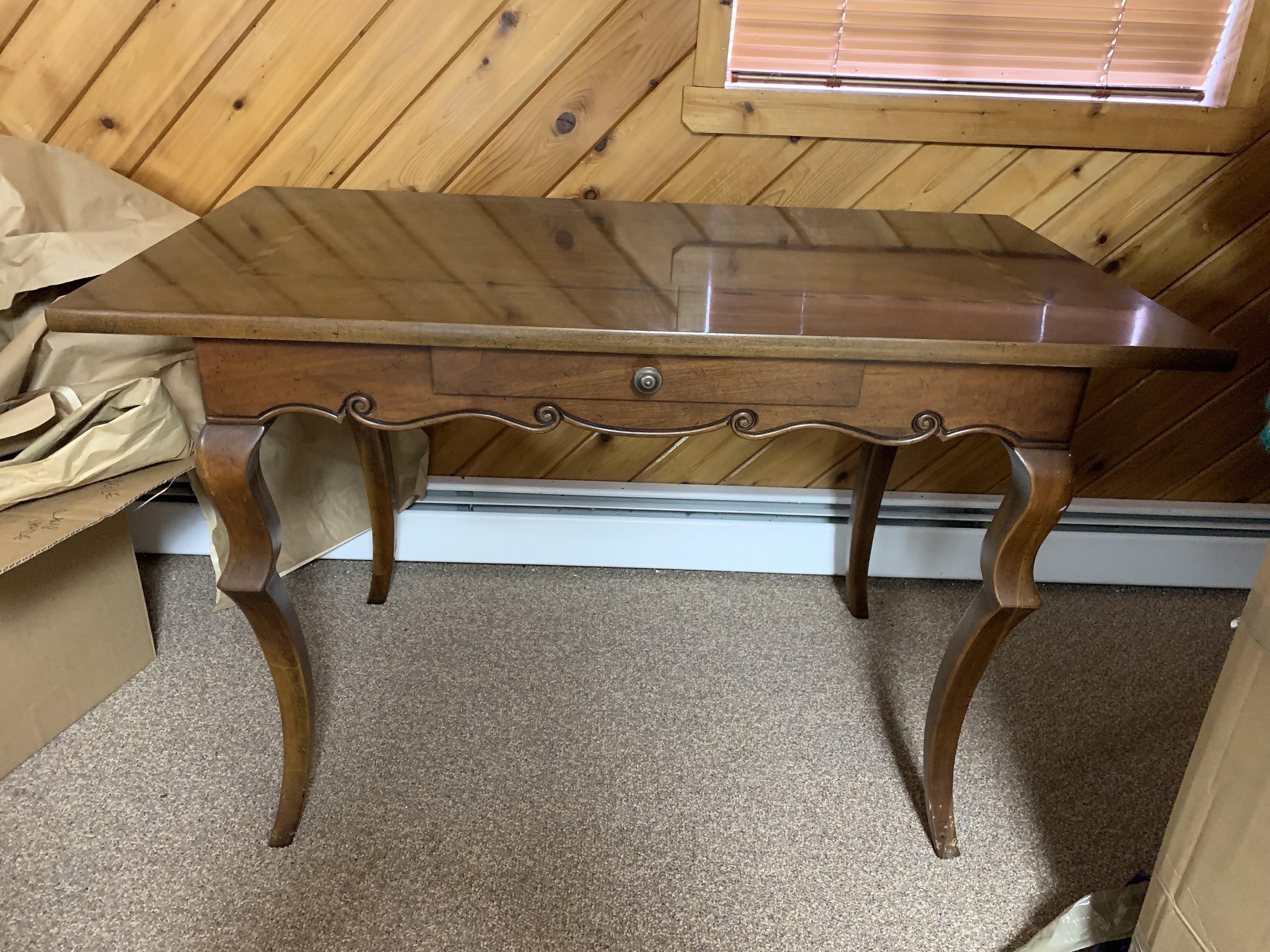 Baker Writing Desk & Wood & Cane Chair