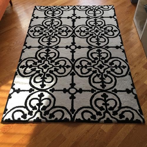 CB2 Black & White Patterned Area Rug