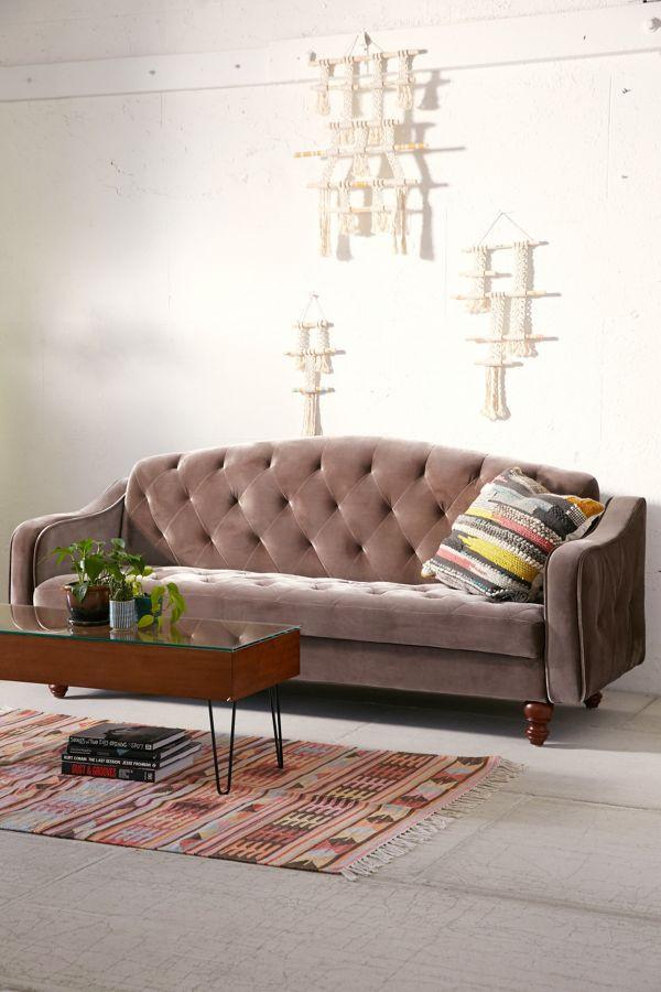 Urban Outfitters Ava Velvet Tufted Sleeper Sofa