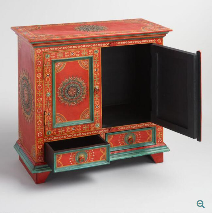 World Market Oriental Red Cabinet w/ Hand-Painted Finish