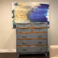 Mid Century Two Toned Gray 7 drawer Dresser