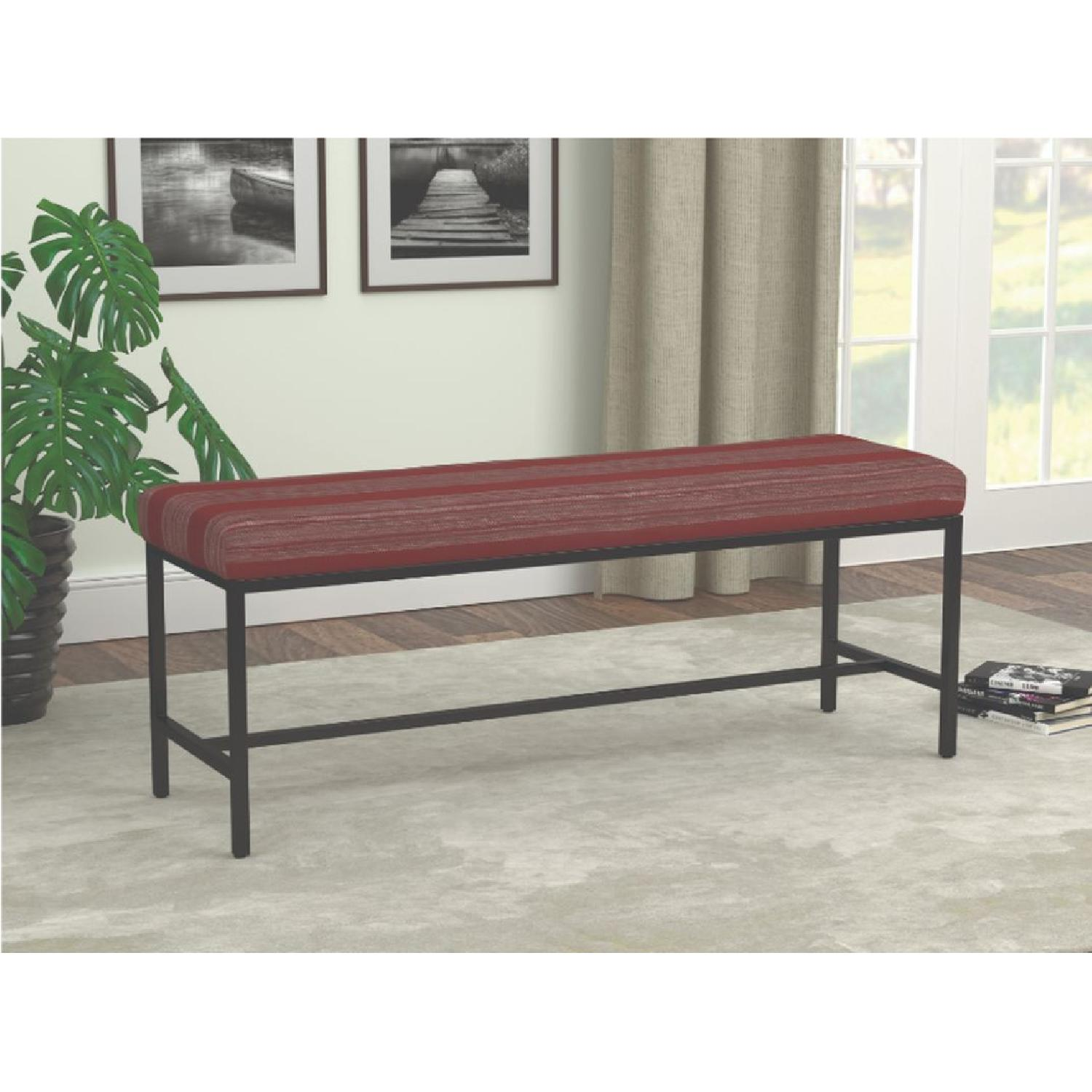 Bench in Electric Style Stripe Cushion w/ Metal Base - image-4
