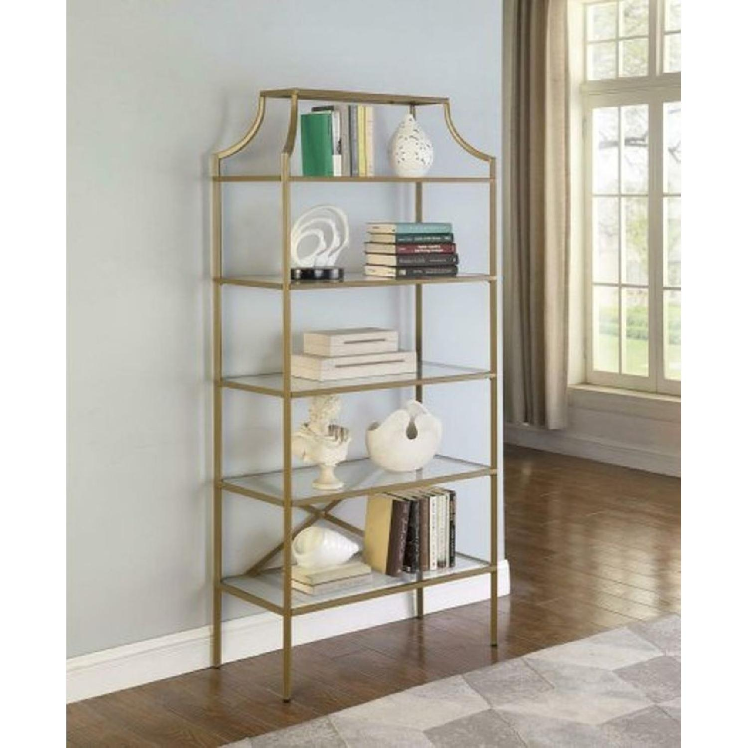 Modern Display Unit w/ Gold Frame & Tempered Glass Shelves - image-3