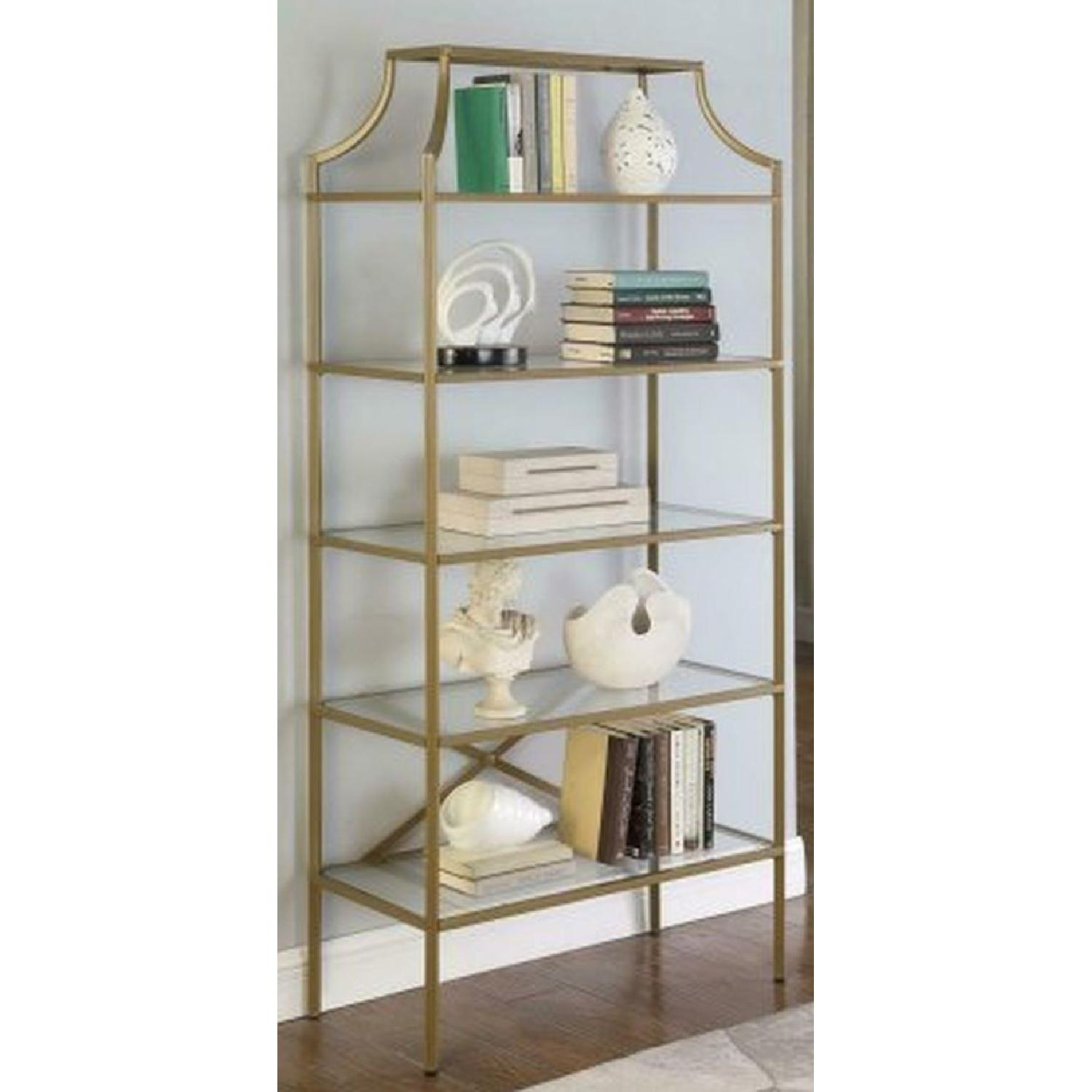 Modern Display Unit w/ Gold Frame & Tempered Glass Shelves - image-1