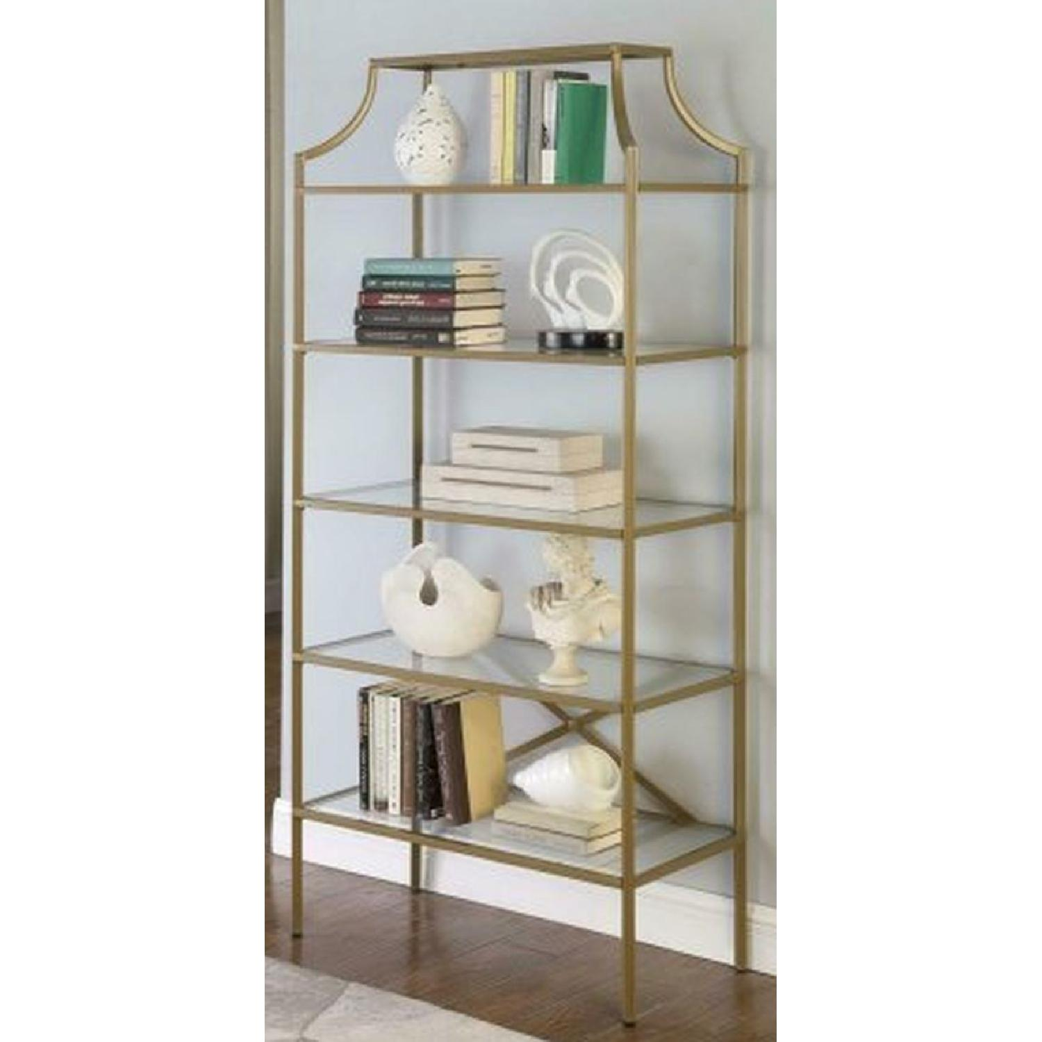 Modern Display Unit w/ Gold Frame & Tempered Glass Shelves - image-2
