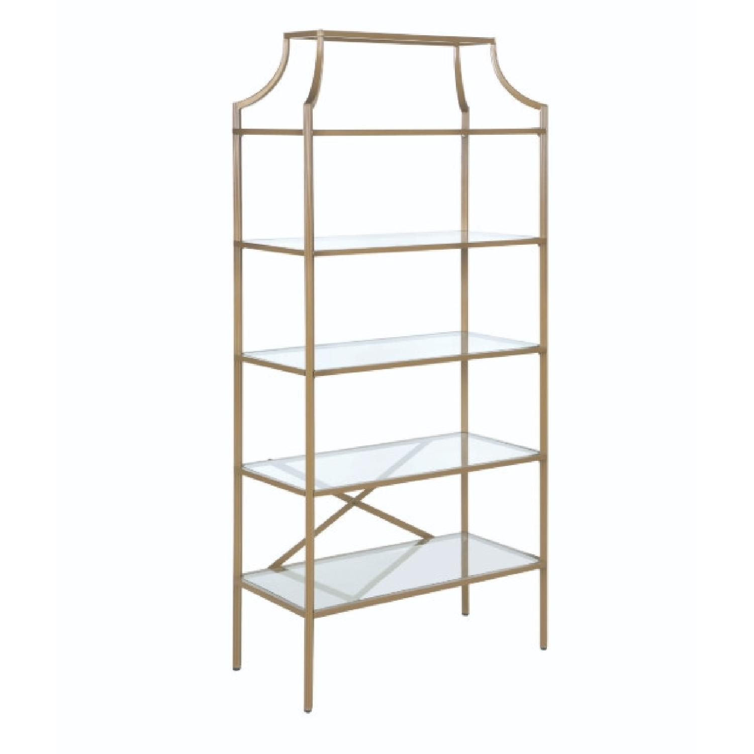 Modern Display Unit w/ Gold Frame & Tempered Glass Shelves - image-0