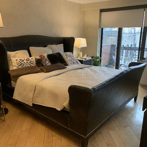 Used Ralph Lauren Black Leather King Bed w/ Nailheads for sale on AptDeco