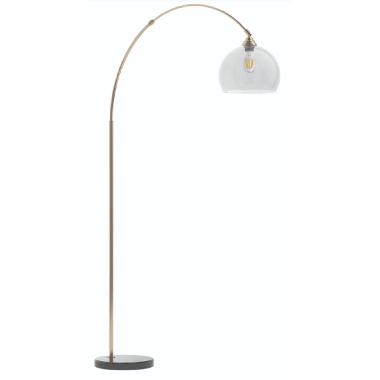 Modern Arch Lamp w/ Black Base & Clear Shade - image-2