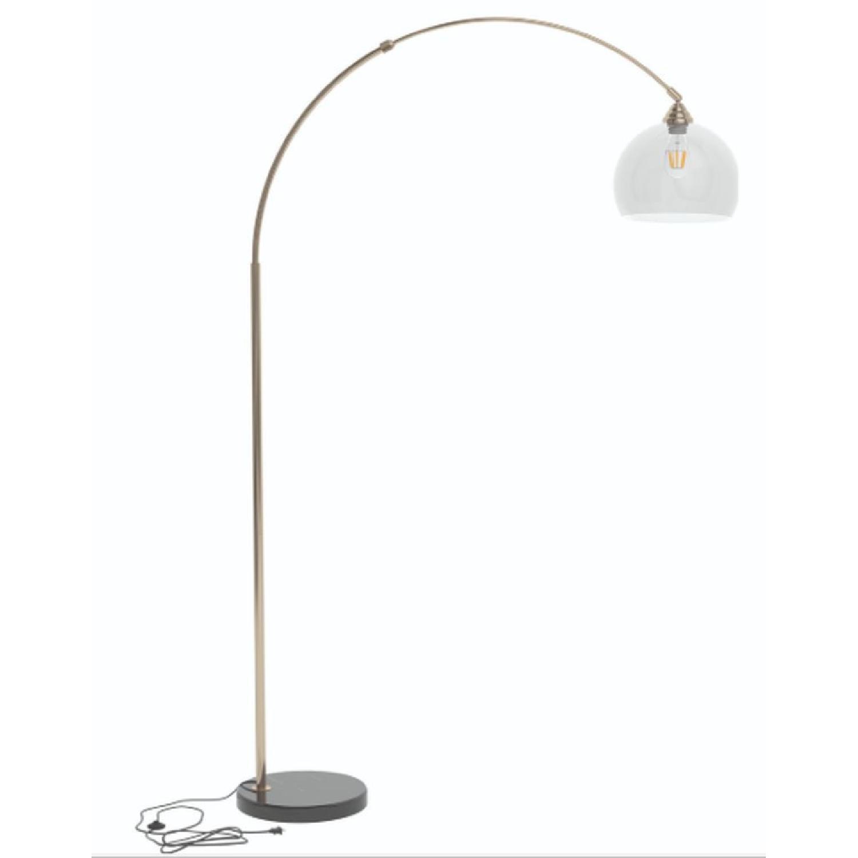 Modern Arch Lamp w/ Black Base & Clear Shade - image-3