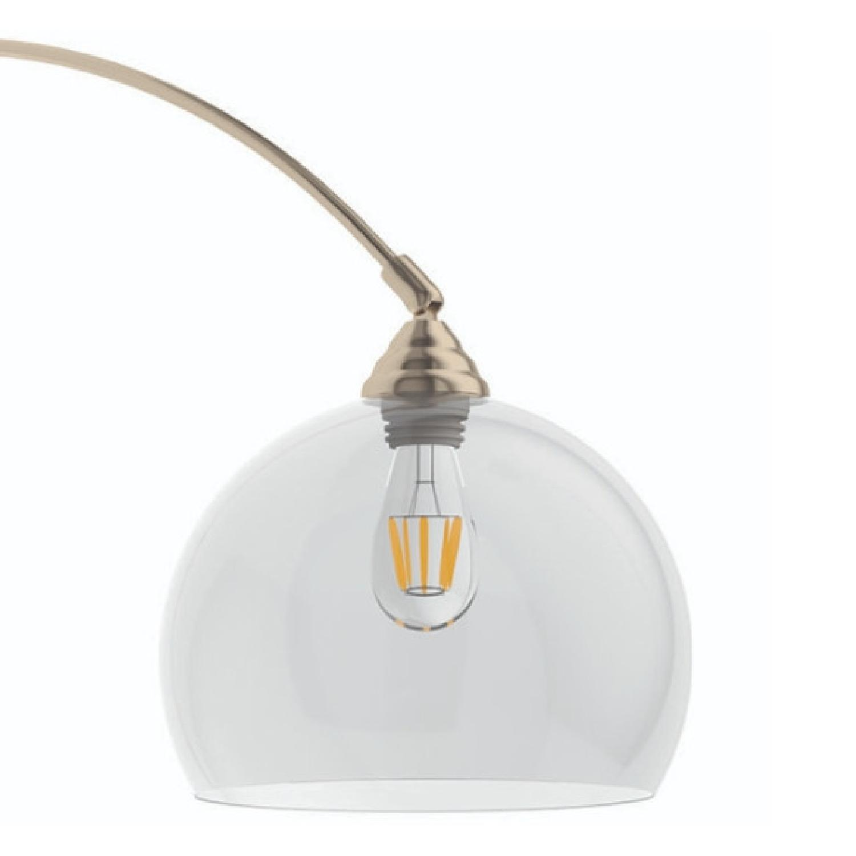Modern Arch Lamp w/ Black Base & Clear Shade - image-4