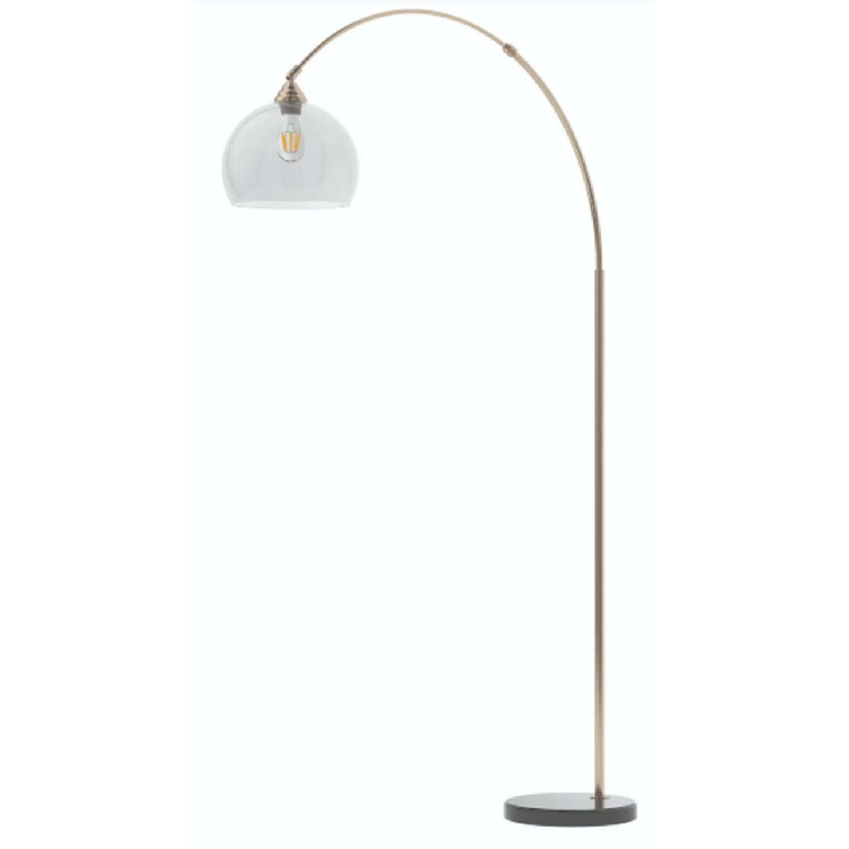 Modern Arch Lamp w/ Black Base & Clear Shade - image-0
