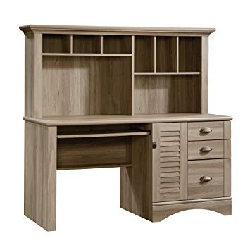 Sauder Harbor View Computer Desk w/ Hutch in Salt Oak