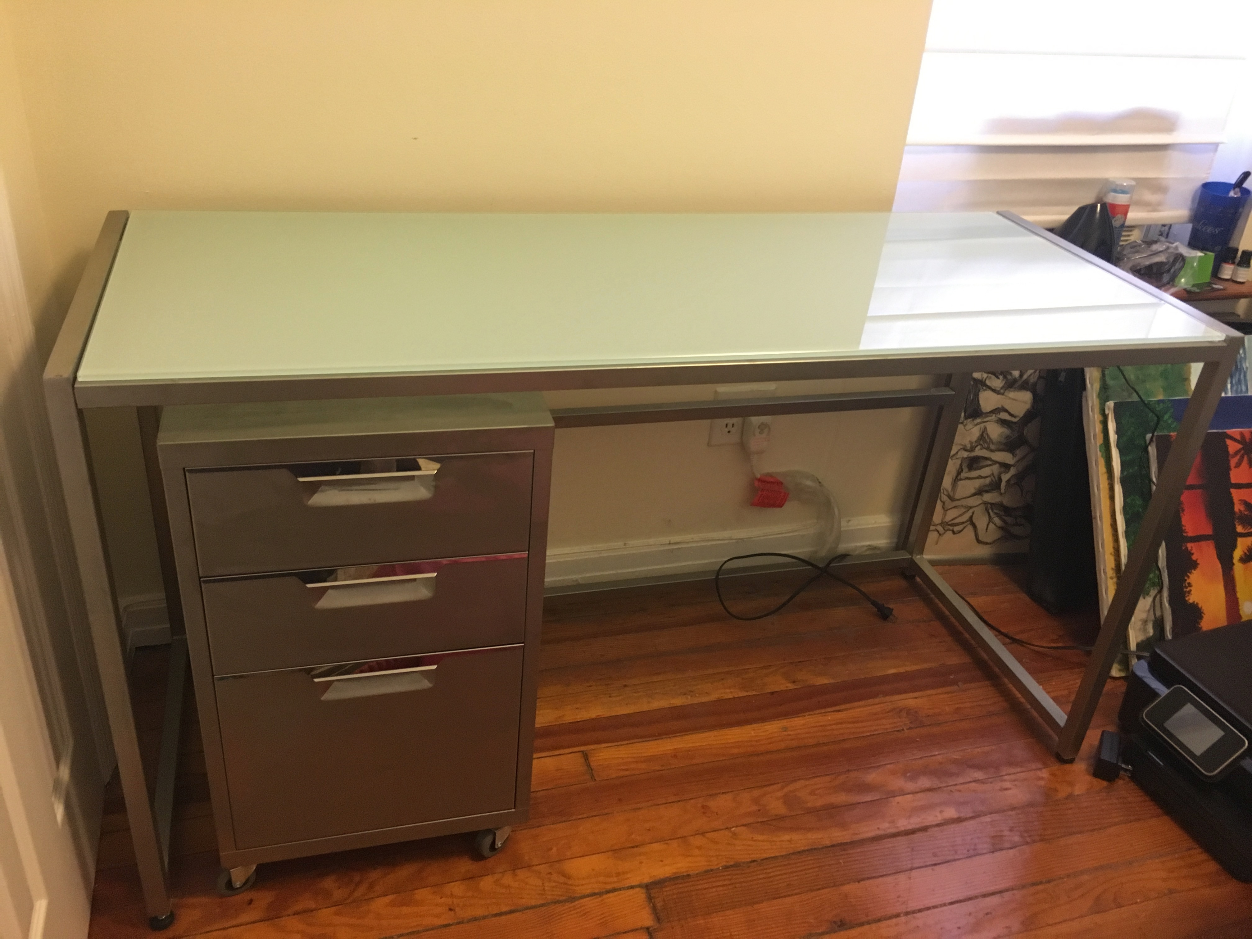 CB2 Trig Frosted Glass Desk with Meta Filing Cabinet