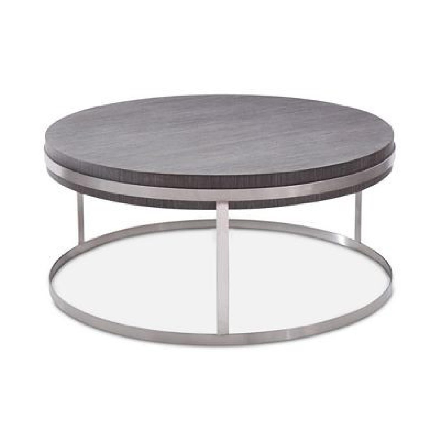Armen living sunset gray wood steel coffee table aptdeco for Gray wood and metal coffee table