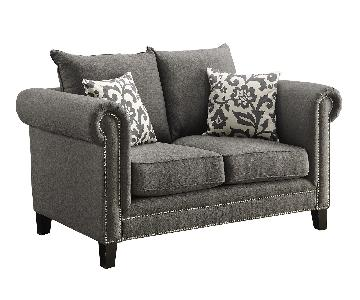 Loveseat w/ Rolled Arms & Pewter Nailhead Accent in Charcoal Grey Fabric & 2 Accent Pillows