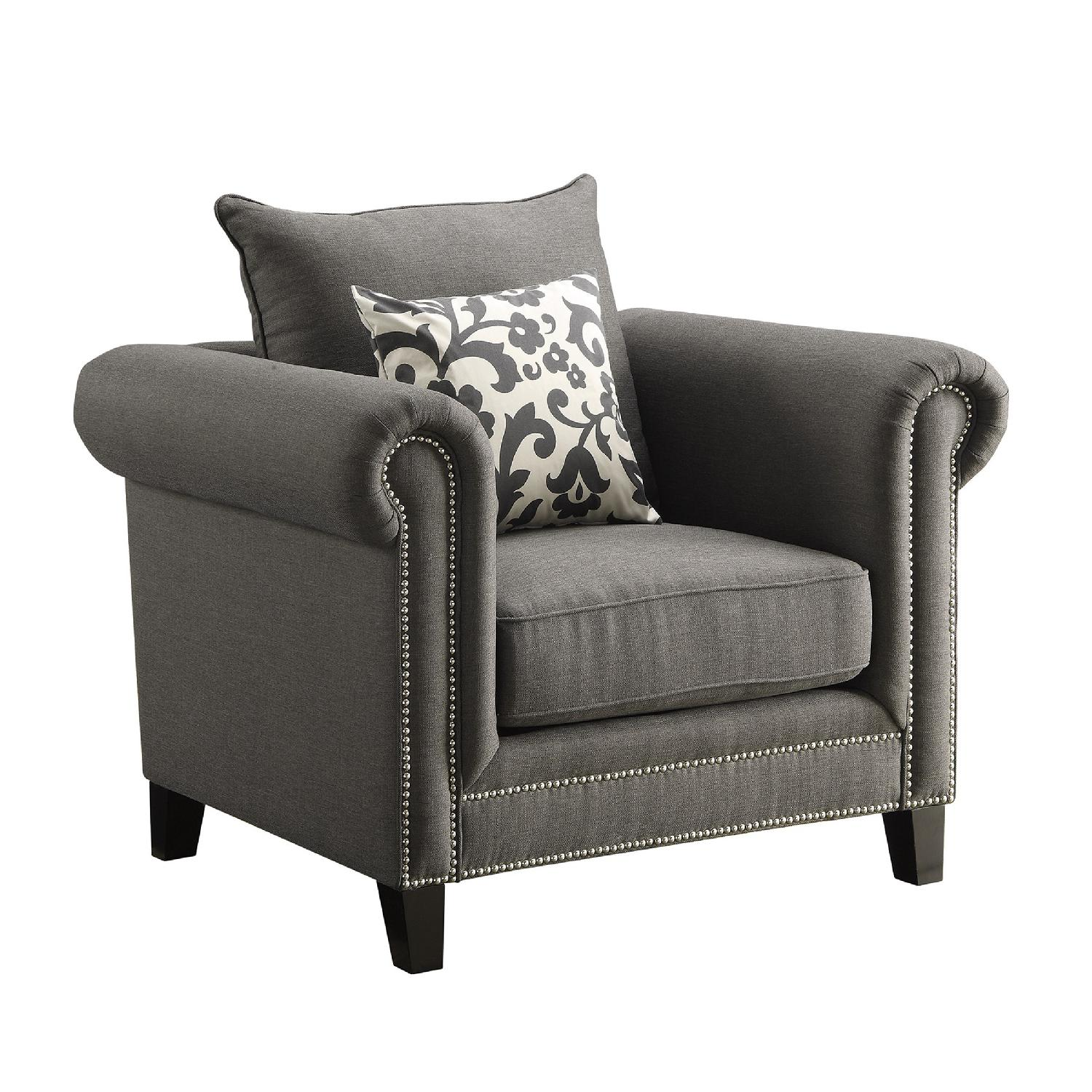 Accent Chair w/ Rolled Arms & Pewter Nailhead Accent in Charcoal Grey Fabric & Accent Pillow