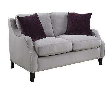 Fabric Tailored Silhouette Loveseat w/ Feather Down Blend Cu