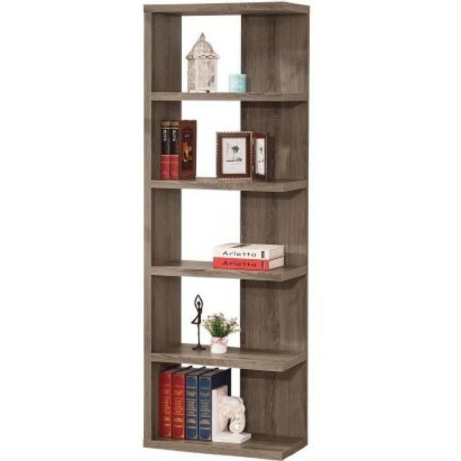 Contemporary Style Weathered Grey Semi-Backless Bookcase - image-1