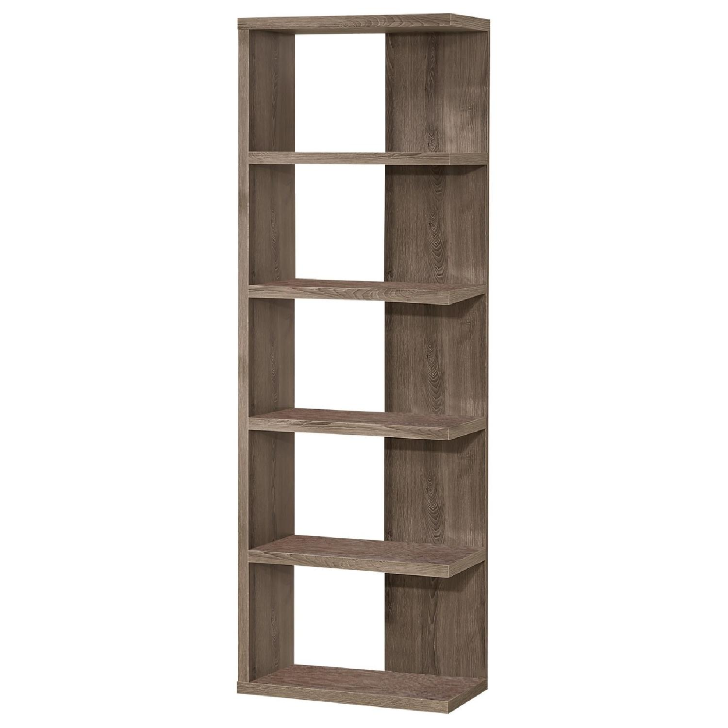 Contemporary Style Weathered Grey Semi-Backless Bookcase - image-0