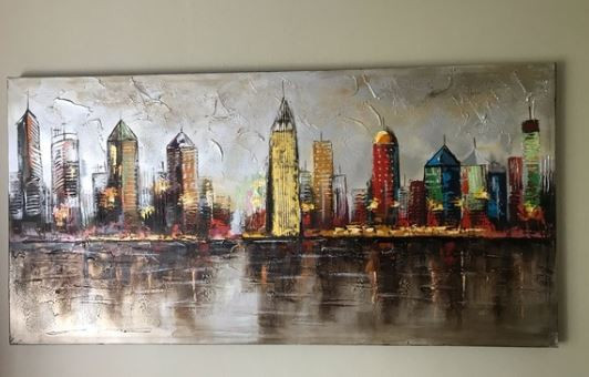Pier 1 Hand-Painted City Landscape Wall Art