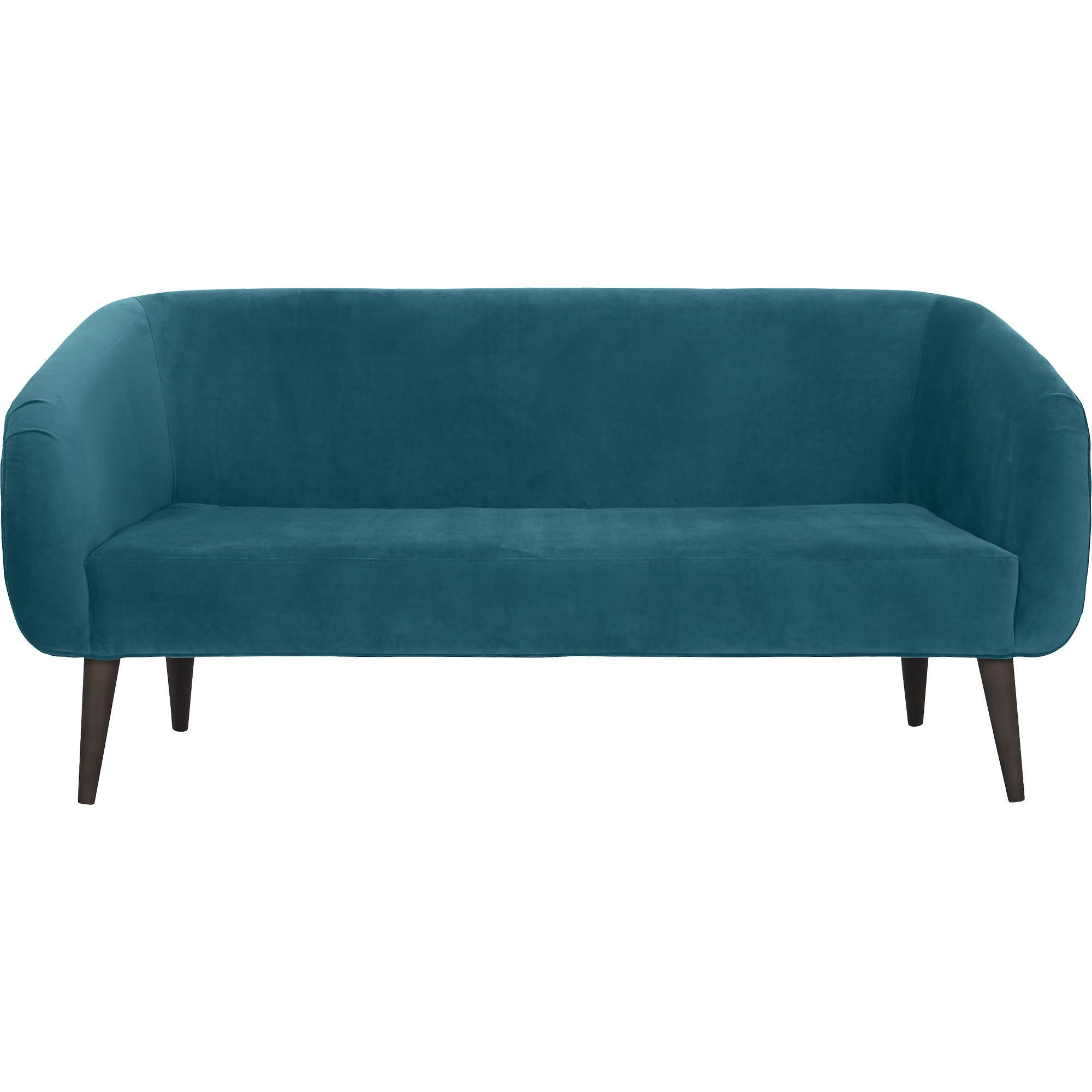 CB2 Rue Teal Velvet Apartment Sofa
