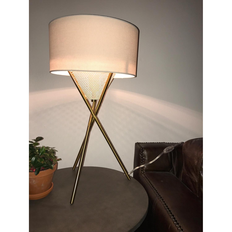 West Elm Mid Century Tripod Table Lamp In Antique Brass Aptdeco