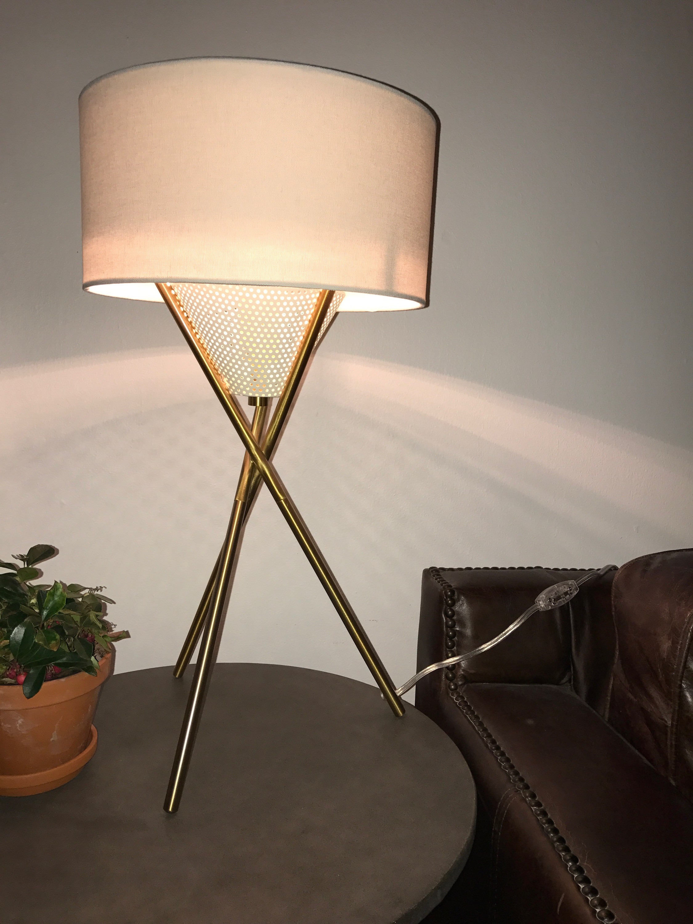 West Elm Mid-Century Tripod Table Lamp in Antique Brass