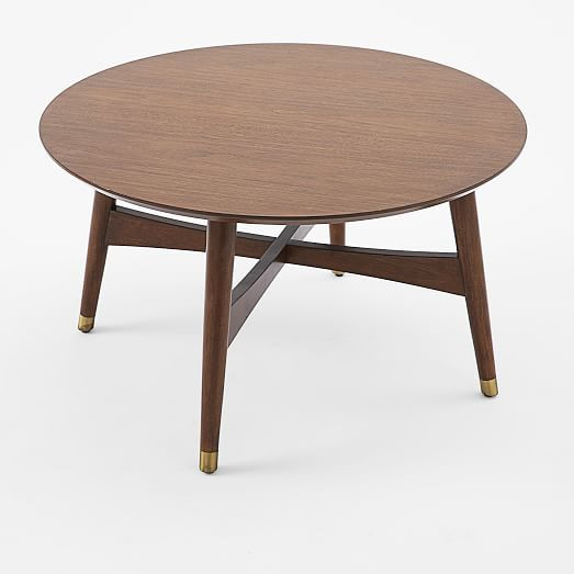 West Elm Reeve Mid-Century Round Walnut Coffee Table