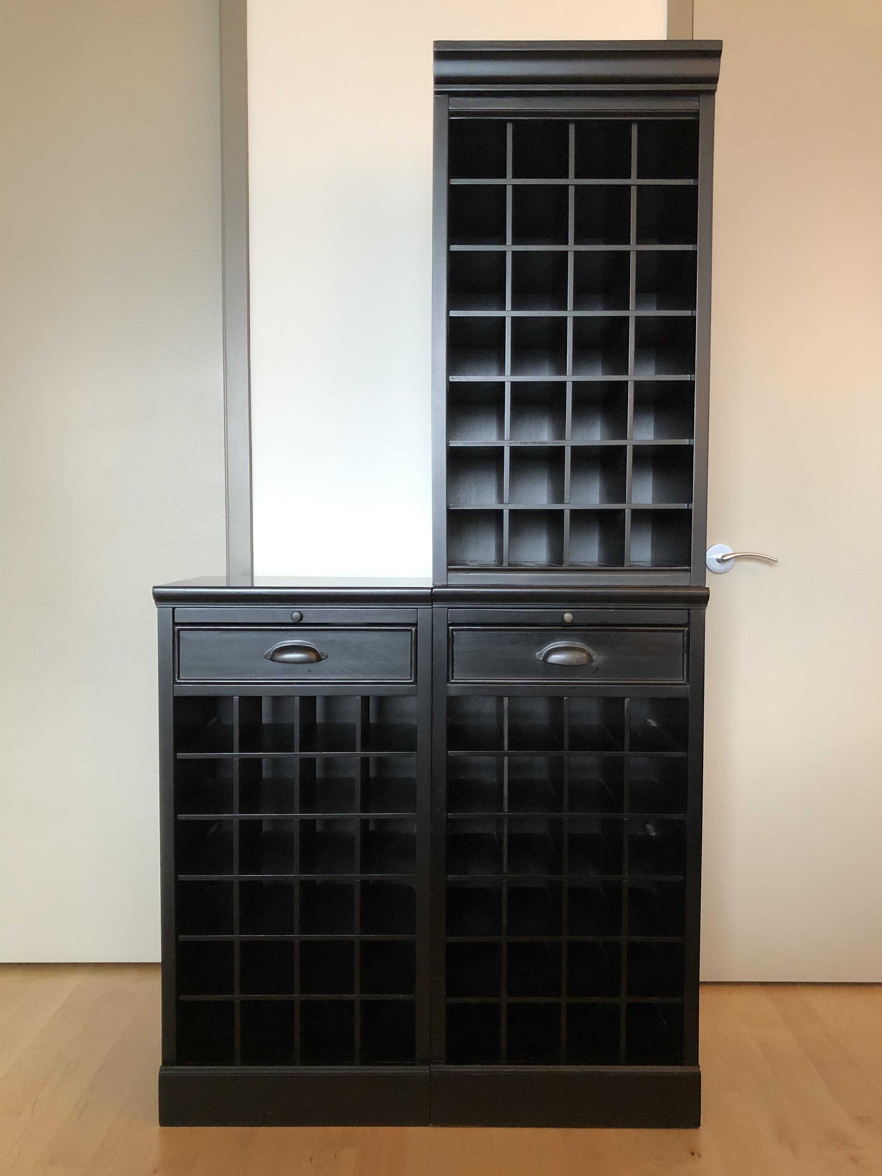 Pottery Barn Black Wine Grid Bases & Hutch