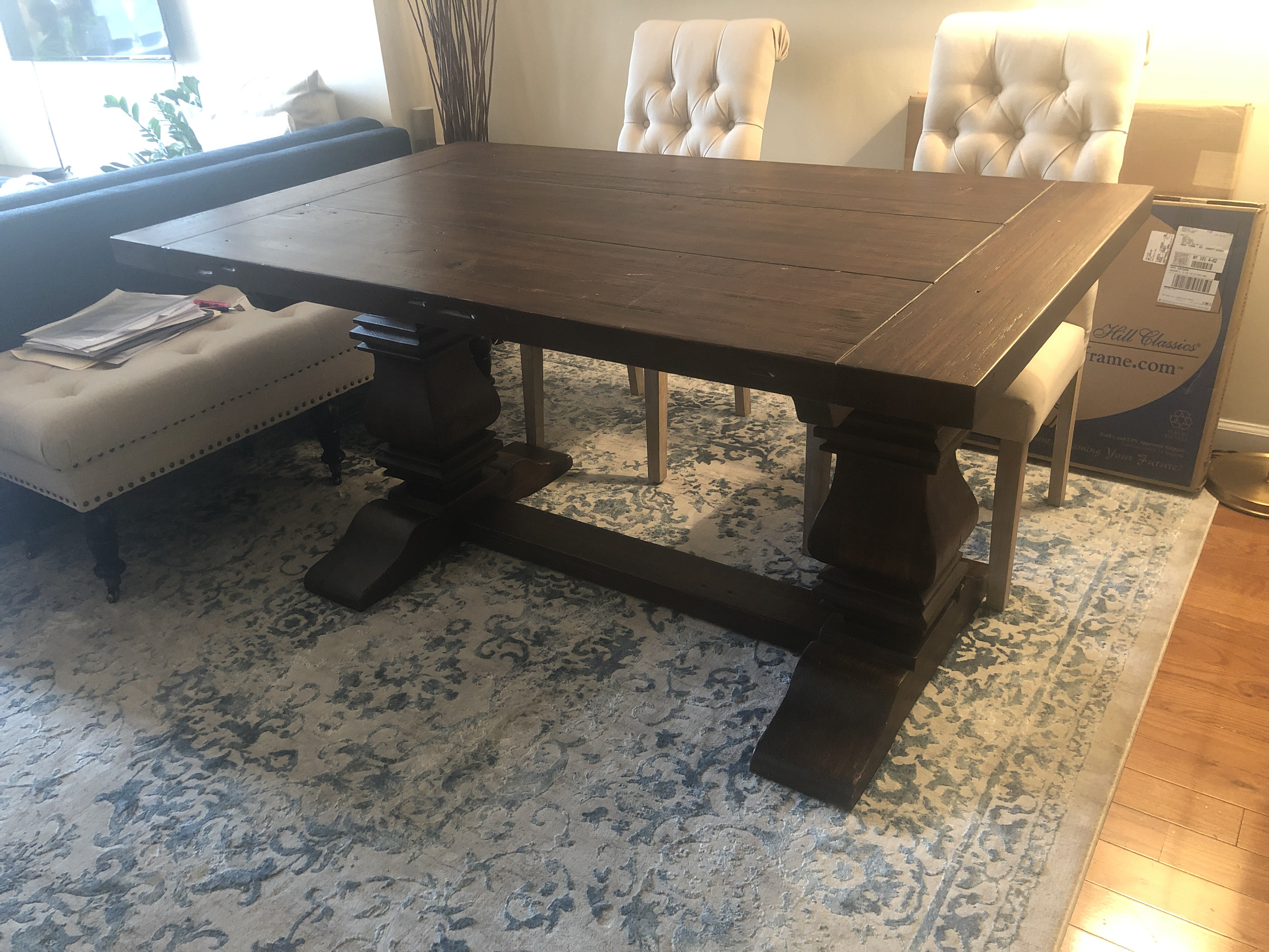 Restoration Hardware Salvaged Wood Trestle Extension Table