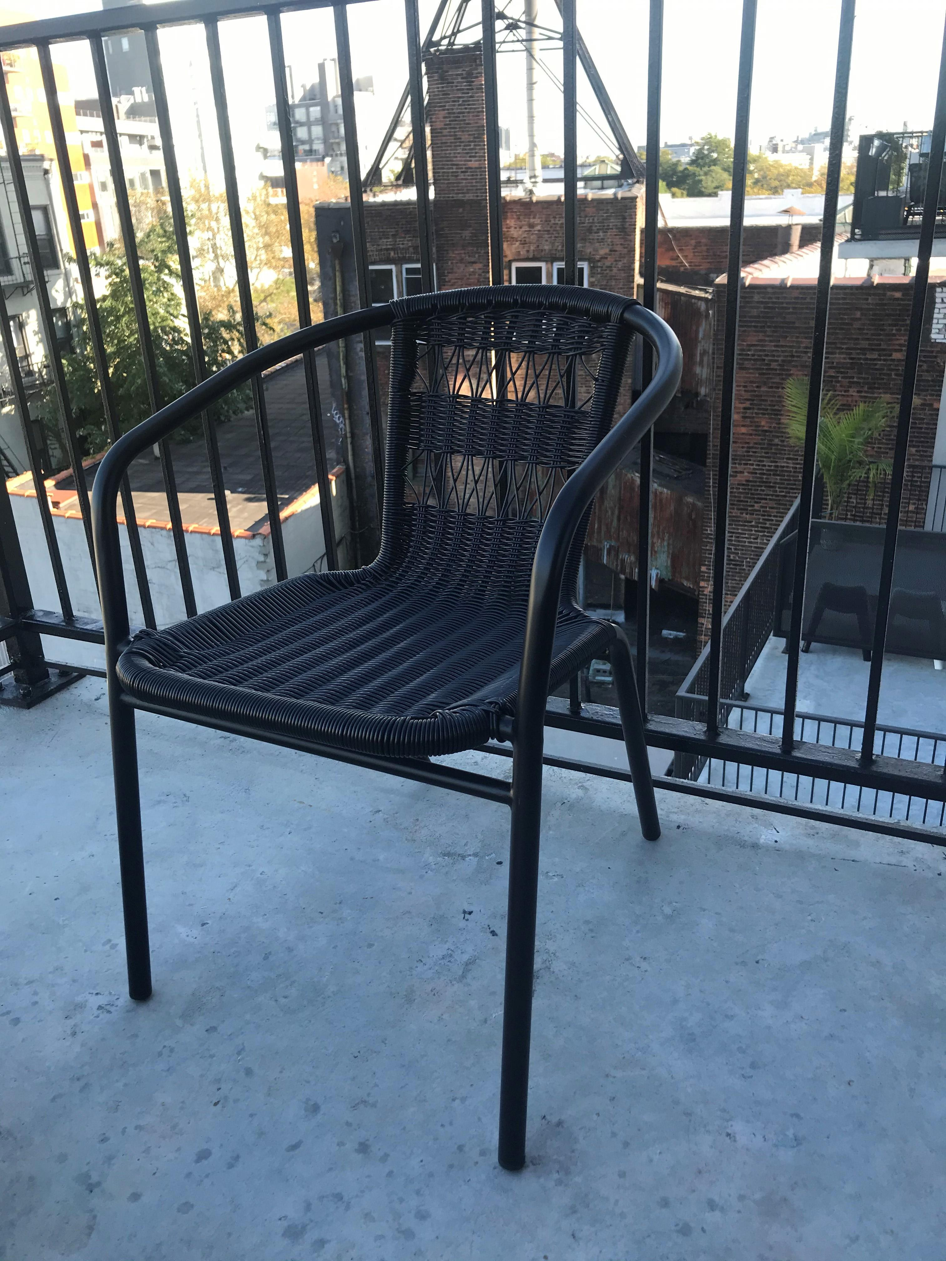 CB2 Rex Black Open Weave Chair