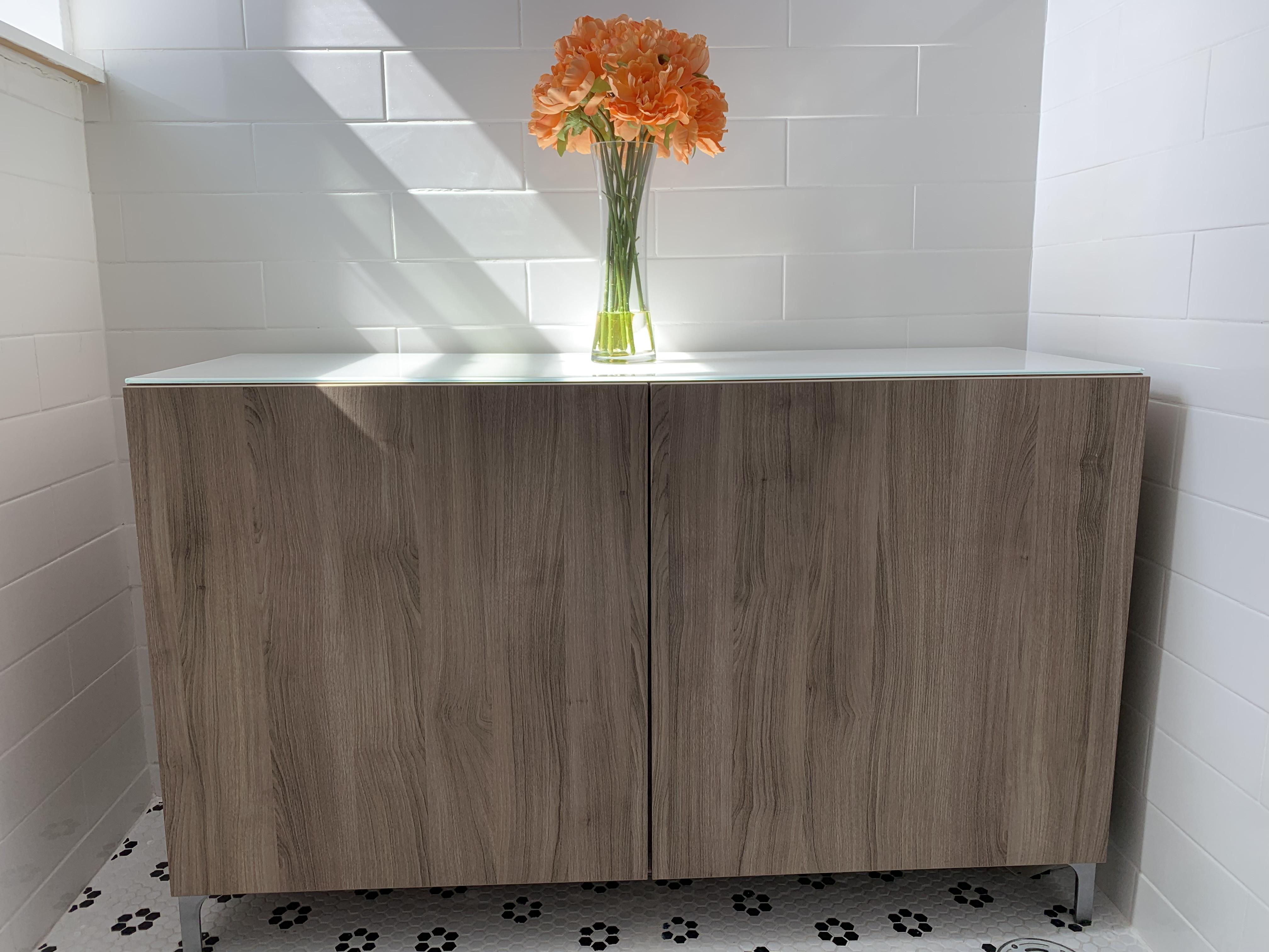 Ikea Light Wood & Glass Sideboard/Cabinet