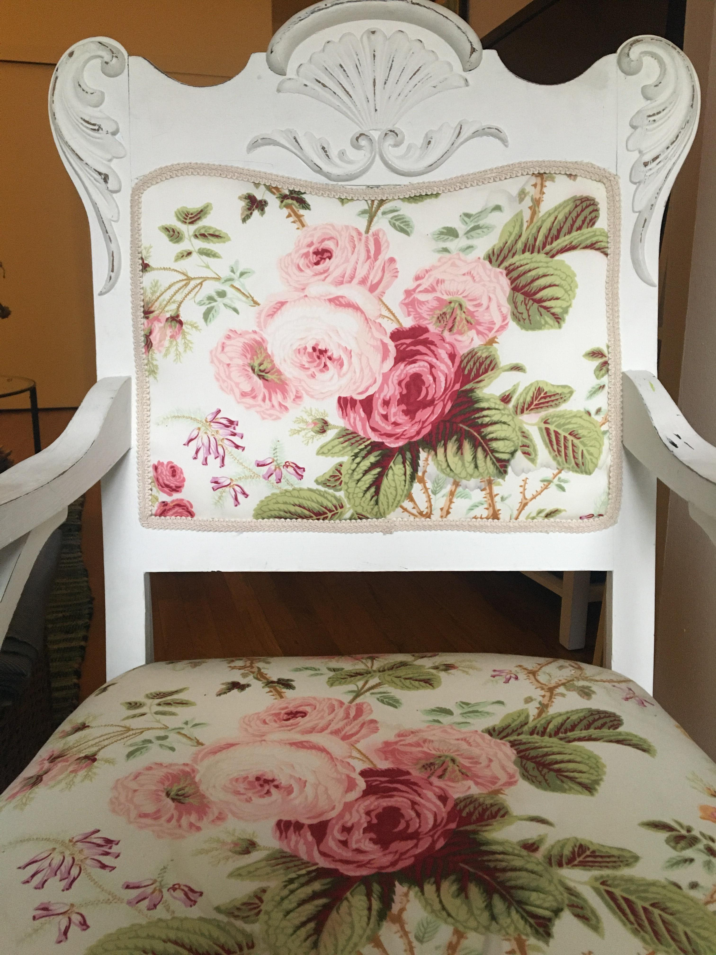 Anthropologie White Wood Floral Chair