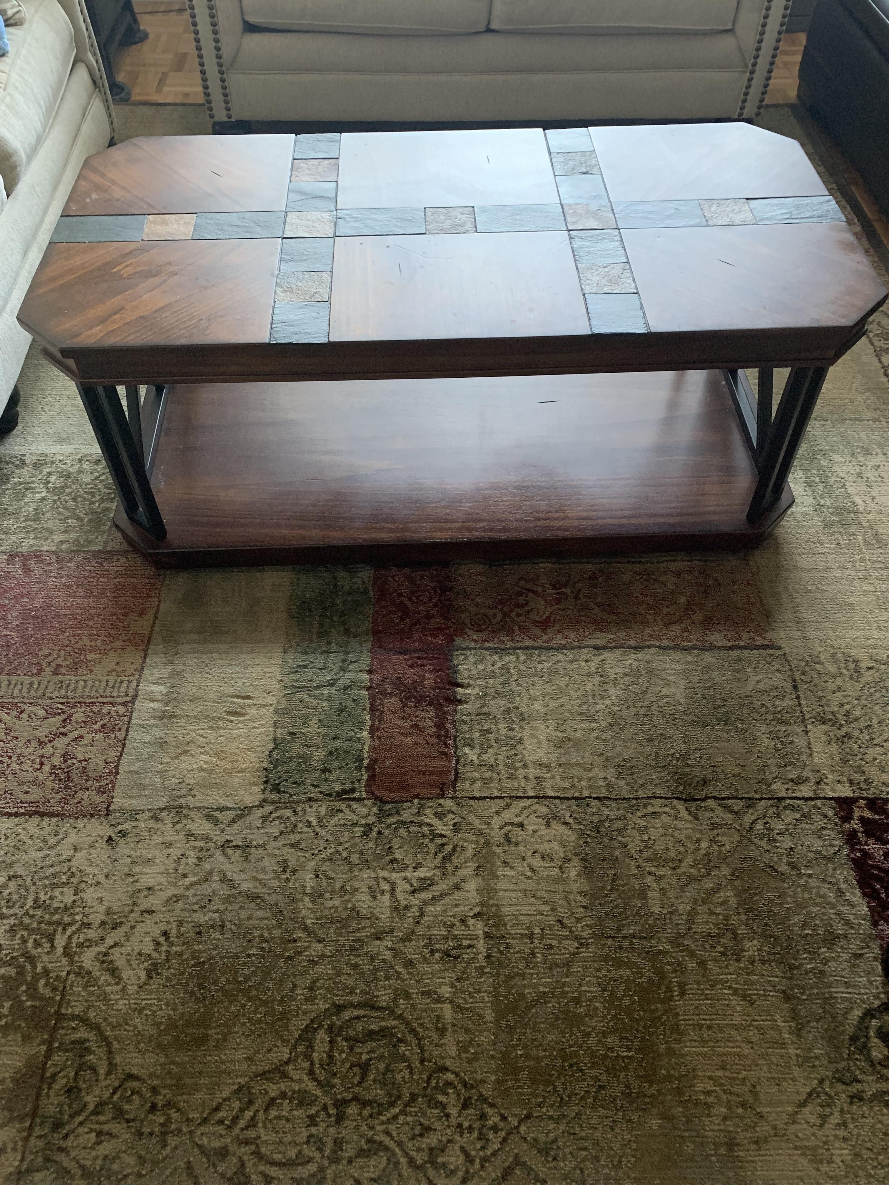 Ashley Wood & Stone Coffee Table + 2 End Tables