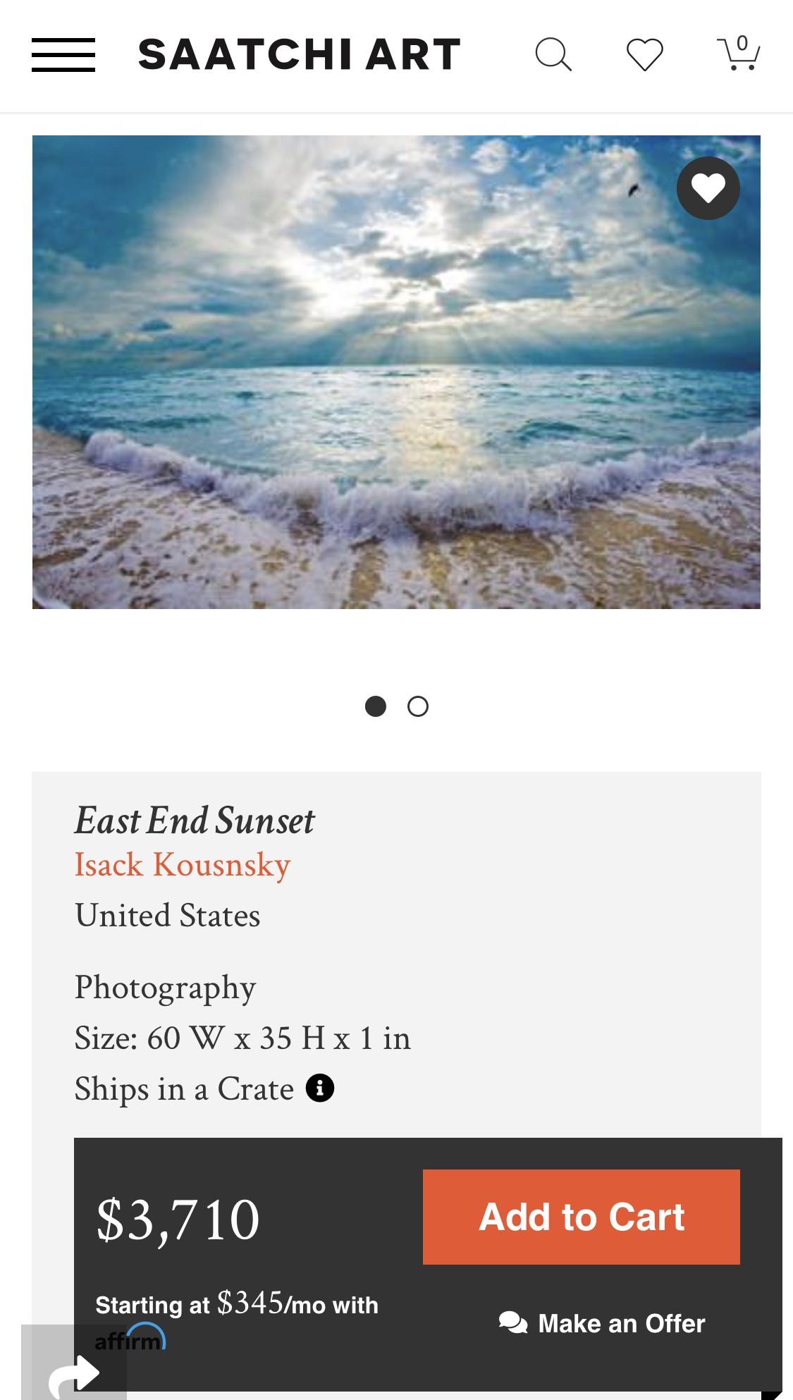 Isaac Kousnsky East End Sunset Face Mounted Plexi