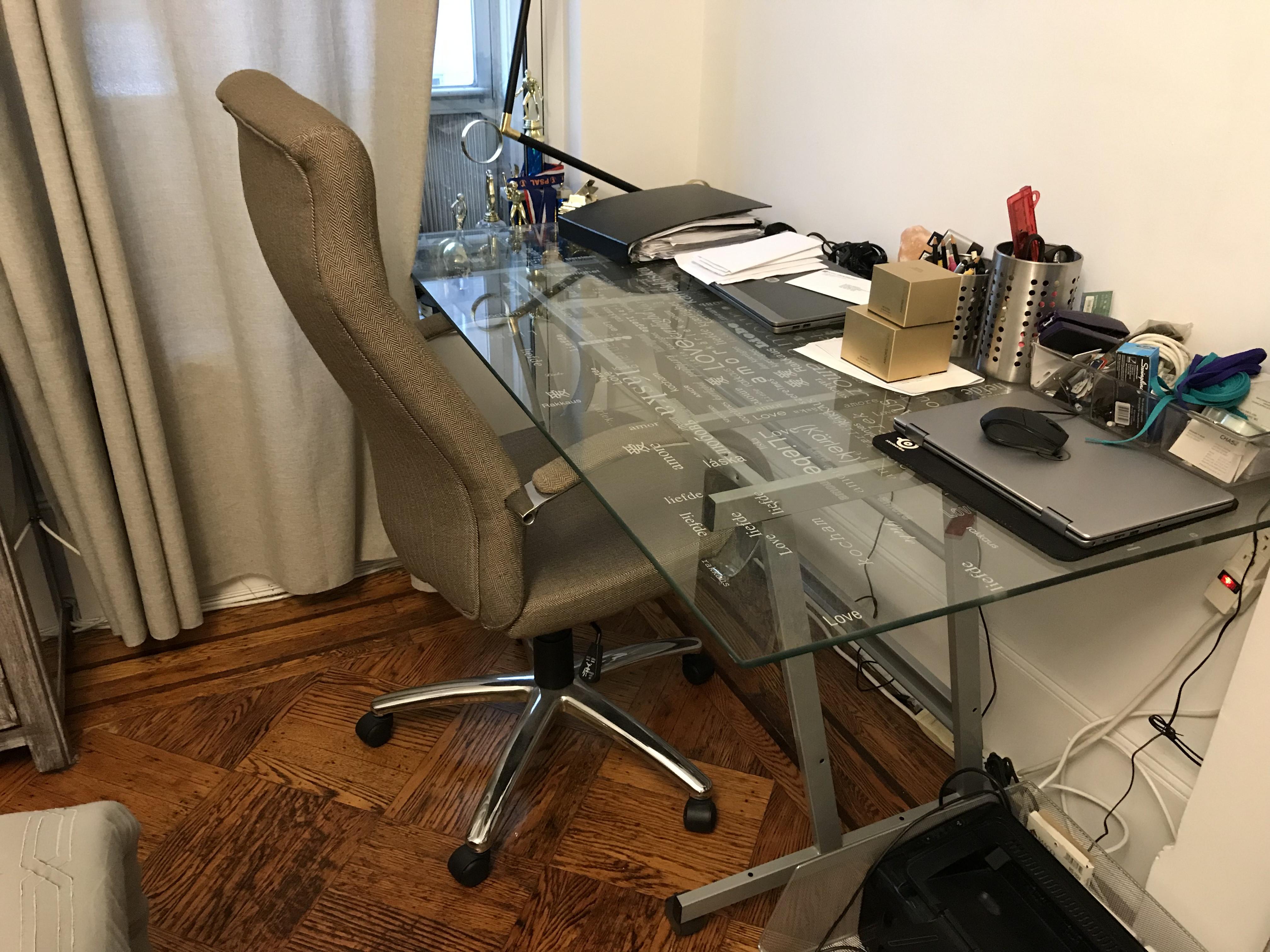 Ikea Glass Top Desk w/ Wheels