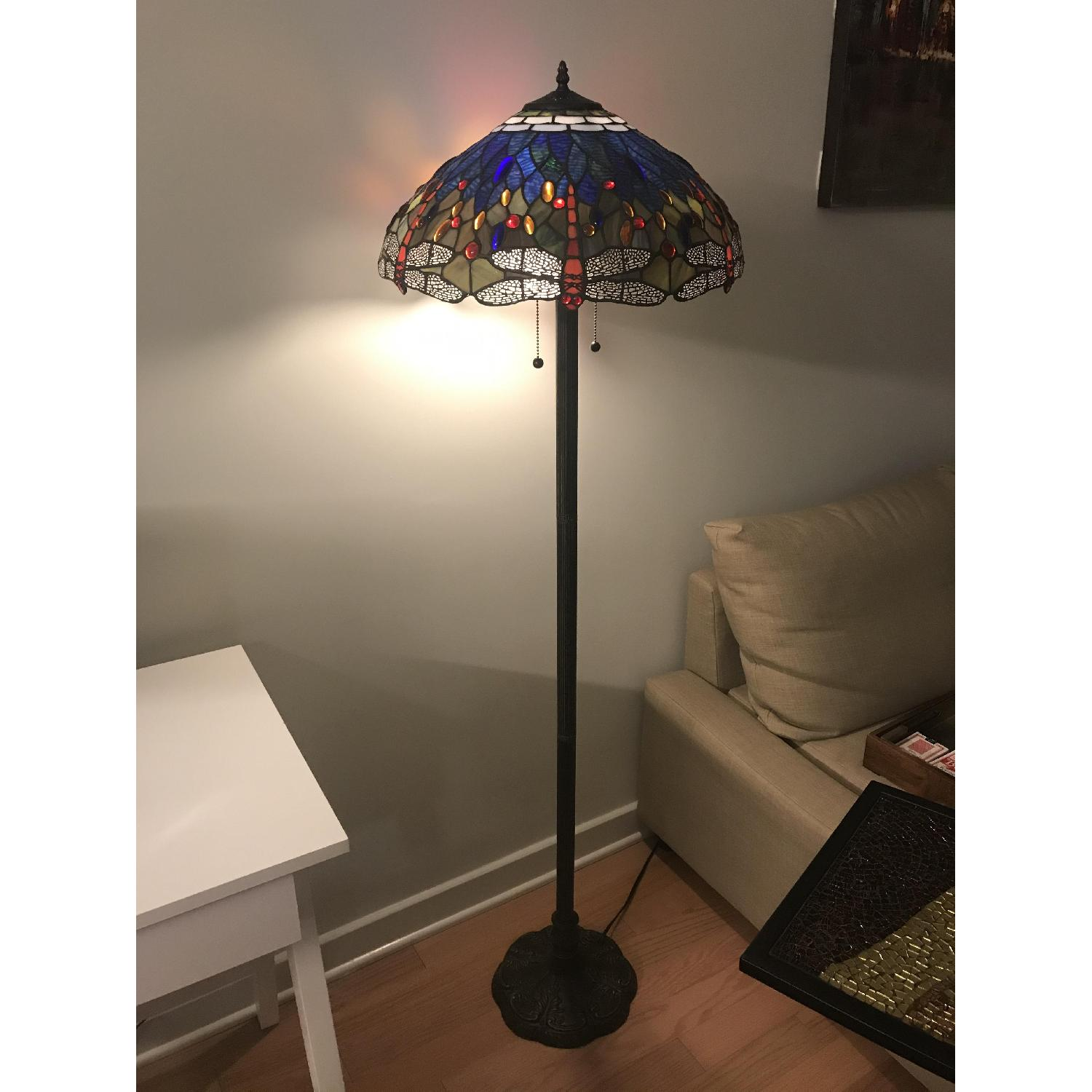 Brass Dragonfly Stained Glass Floor Lamp Aptdeco