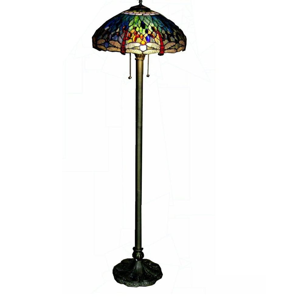 Brass Dragonfly Stained Glass Floor Lamp