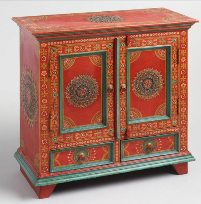 World Market Red Floral Painted Wood Cabinet