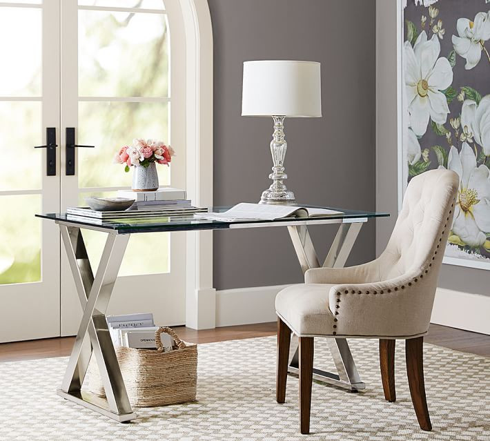 Pottery Barn Ava Metal & Glass Desk in Polished Nickel
