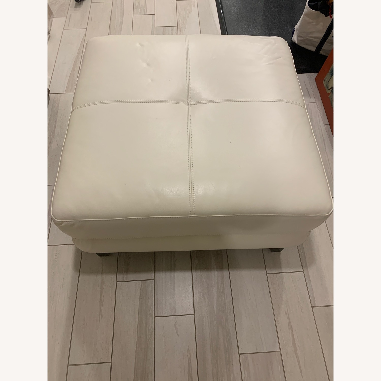 Chateau D'ax White Leather Ottoman