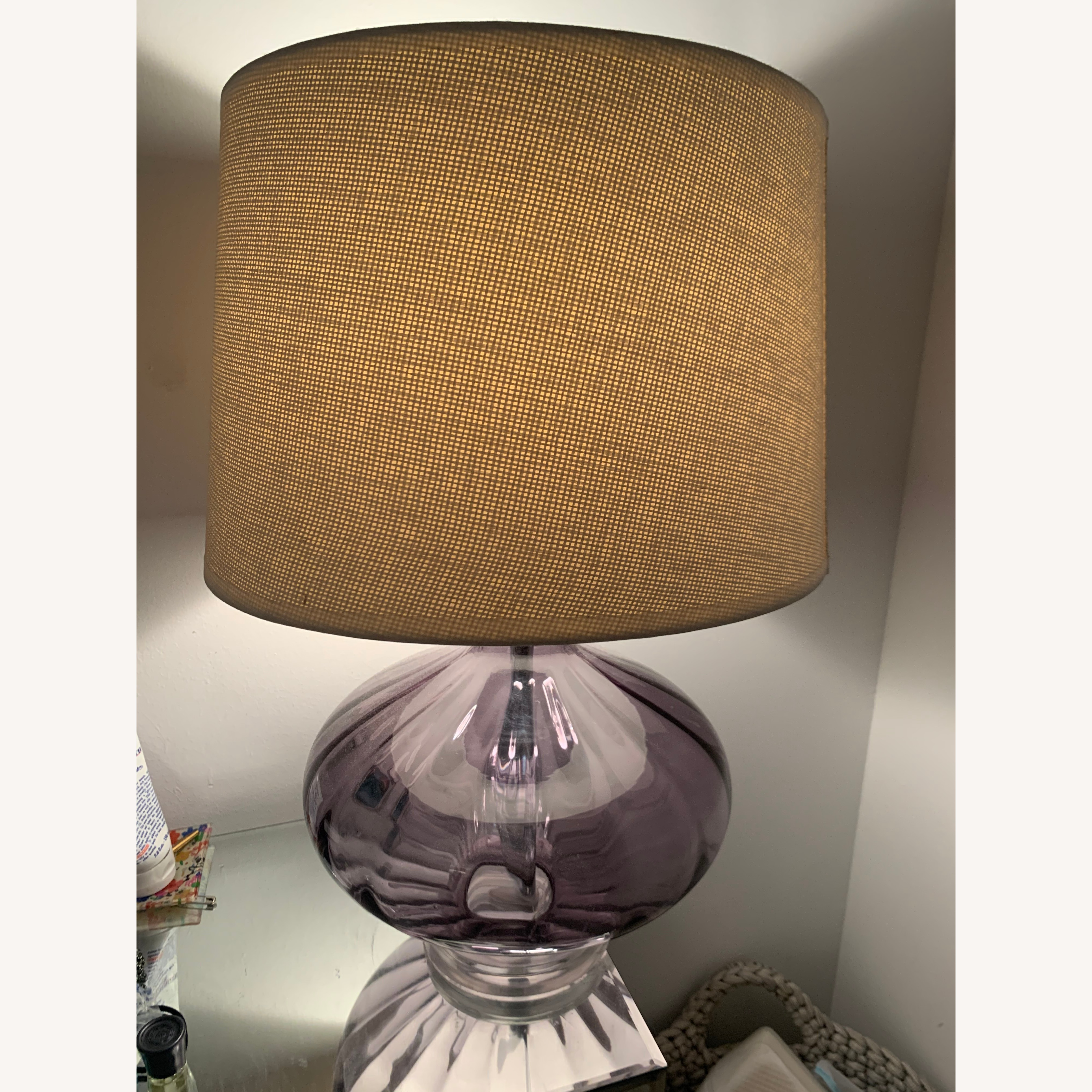 Home Goods Glass Lamp with cream shade
