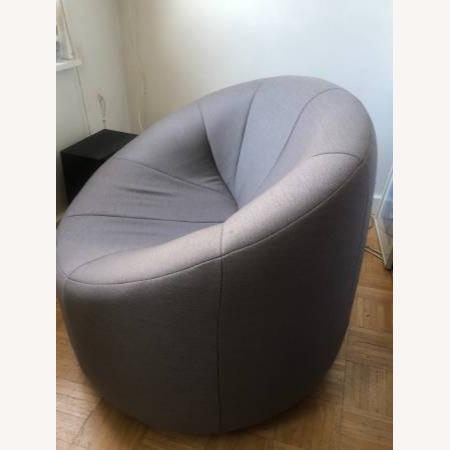 Ligne Roset Pierre Paulin Gray Pumpkin Swivel Arm Chair