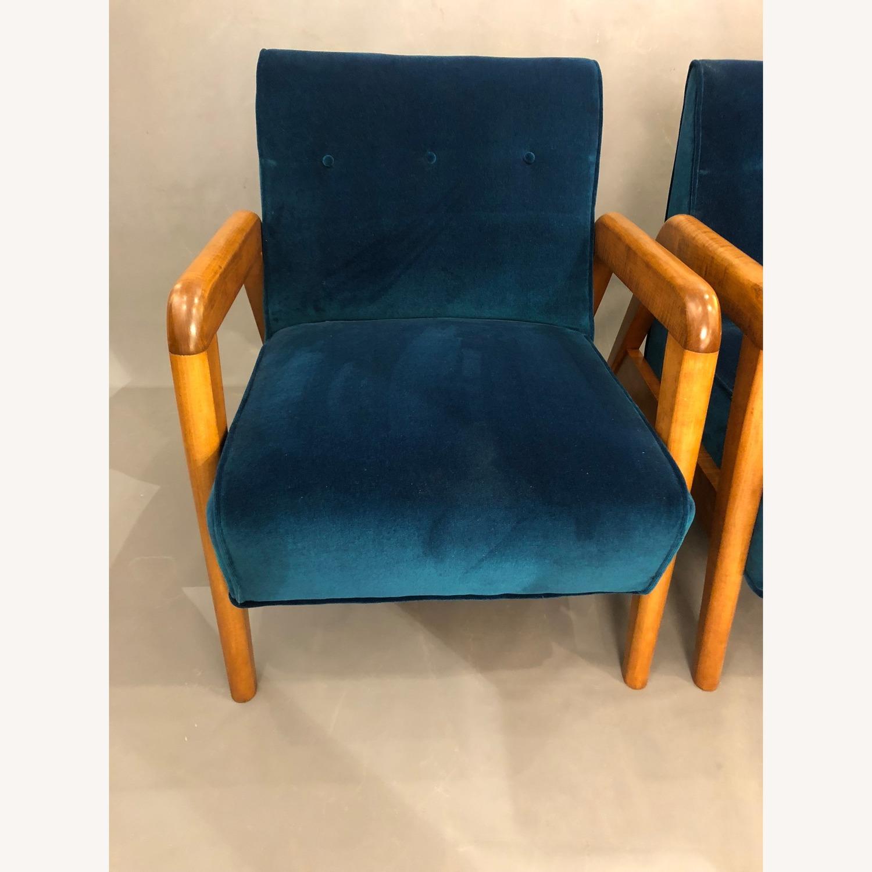 Thonet Vintage Velvet Blue Club Chairs