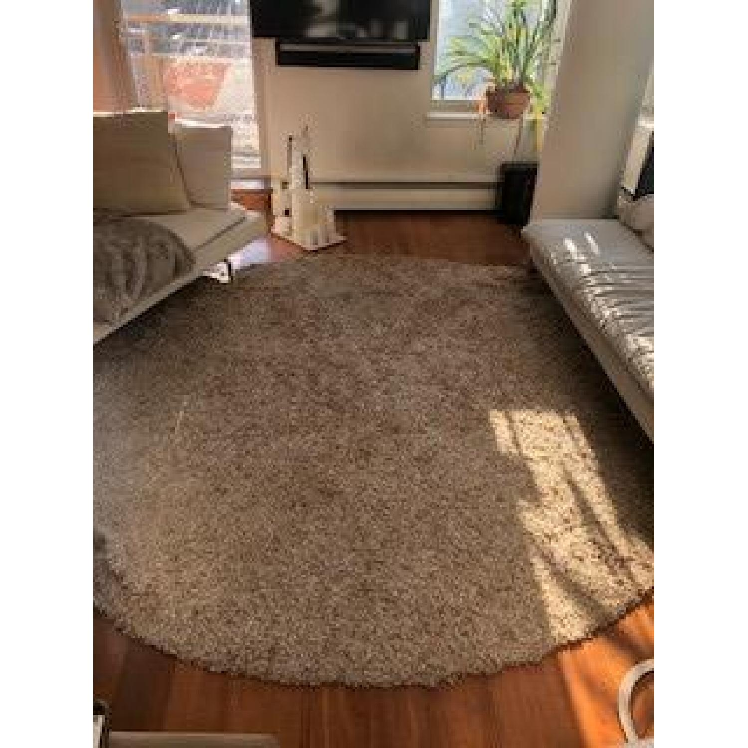 B&B Italia Round Brown Shag Rug
