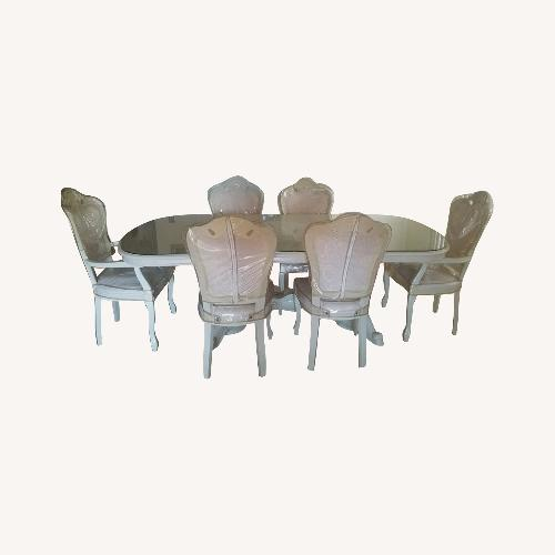 Used Innovation USA Beige Italian 7-Piece Dining Set for sale on AptDeco